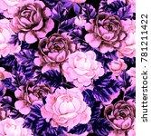 watercolor flower seamless... | Shutterstock . vector #781211422