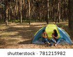 Small photo of Women agreement. Tent friendship. Done work together. Morning blab