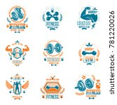 power lifting theme emblems and ... | Shutterstock . vector #781220026