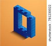 3d isometric letter d of the... | Shutterstock .eps vector #781230022