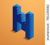 3d isometric letter n of the... | Shutterstock .eps vector #781230082