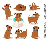 puppy character. brown funny... | Shutterstock .eps vector #781230682
