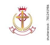 christian cross golden emblem... | Shutterstock . vector #781241986