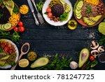 healthy food. black rice ... | Shutterstock . vector #781247725