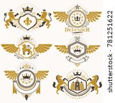 heraldic signs decorated with... | Shutterstock . vector #781251622
