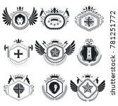 heraldic designs  vintage...   Shutterstock . vector #781251772