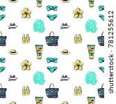 summer beach vector seamless... | Shutterstock .eps vector #781255612