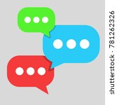 three comment icon. green  blue ...   Shutterstock .eps vector #781262326