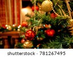 christmas tree red and gold... | Shutterstock . vector #781267495