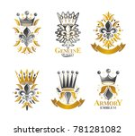 royal symbols lily flowers ... | Shutterstock . vector #781281082