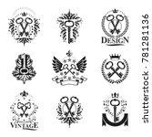 ancient keys emblems set....   Shutterstock . vector #781281136