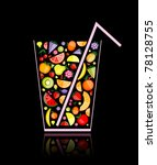 mix of fruit juice in glass for ... | Shutterstock .eps vector #78128755