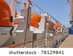 Lifeboats By Deck Of A Cruise...