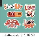 set of contemporary girlie love ...   Shutterstock .eps vector #781302778