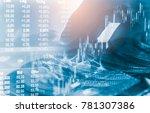 double exposure businessman and ... | Shutterstock . vector #781307386