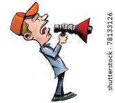 cartoon man shouts through a... | Shutterstock .eps vector #78133126