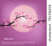 pink cherry blossom background... | Shutterstock .eps vector #781336018