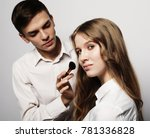 make up artist doing... | Shutterstock . vector #781336828