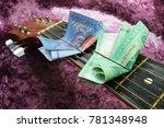 money put between the chords of ... | Shutterstock . vector #781348948
