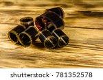 old obsolete films on rustic... | Shutterstock . vector #781352578
