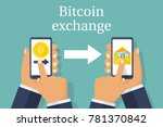 exchange of currencies bitcoin... | Shutterstock .eps vector #781370842