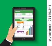 hand holding tablet.... | Shutterstock .eps vector #781401946