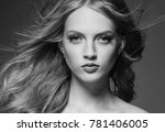 beautiful woman with blonde... | Shutterstock . vector #781406005