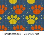 seamless knitted pattern with... | Shutterstock .eps vector #781408705