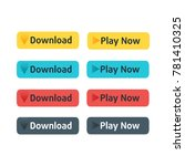 download and play now buttons... | Shutterstock .eps vector #781410325