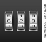 metallic combination lock with...   Shutterstock .eps vector #781416808