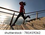 sporty fitness female runner...   Shutterstock . vector #781419262