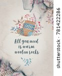 hand drawn watercolor greeting... | Shutterstock . vector #781422286