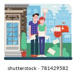 young couple getting mail from... | Shutterstock .eps vector #781429582