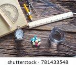 pocket watch  colorful medicine ... | Shutterstock . vector #781433548