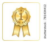 award ribbon gold icon. blank... | Shutterstock .eps vector #781434412