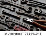 dirty set of hand tools on a... | Shutterstock . vector #781441045