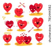 cute set of holiday valentines... | Shutterstock . vector #781444582
