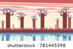 african landscape with sunset... | Shutterstock .eps vector #781445398