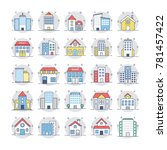 buildings flat rounded icons 3   Shutterstock .eps vector #781457422