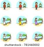 travel  multicolor icon set | Shutterstock .eps vector #781460002