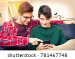 friends with the phone on the... | Shutterstock . vector #781467748