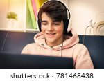 young with computer and... | Shutterstock . vector #781468438