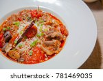 rice noodles with spicy pork... | Shutterstock . vector #781469035