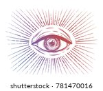all seeing eye symbol. vision... | Shutterstock .eps vector #781470016