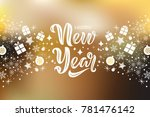 happy new year text design with ...   Shutterstock .eps vector #781476142
