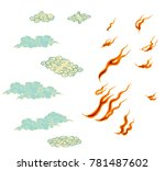 japanese fire tattoo.hand drawn ... | Shutterstock .eps vector #781487602