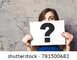 girl holding a signboard with a ... | Shutterstock . vector #781500682