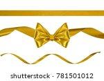 set of festive golden silk... | Shutterstock . vector #781501012