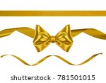 set of christmas golden satin... | Shutterstock . vector #781501015