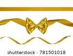 set of gift golden satin bow... | Shutterstock . vector #781501018